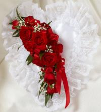 Red and White Satin Heart Casket Pillow