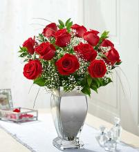 Premium Long Stem Red Roses in Silver Vase