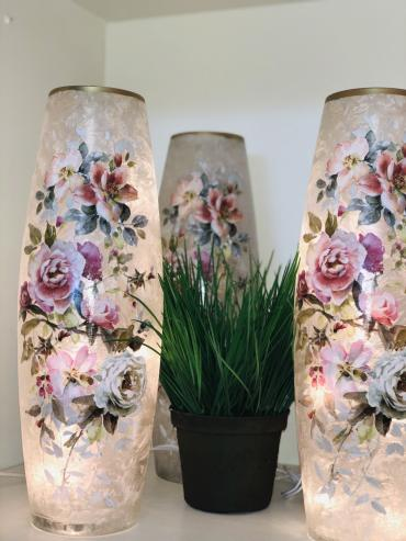 Decorative Lit Vase - Roses