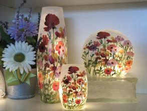 Decorative Lit Vase - Poppies